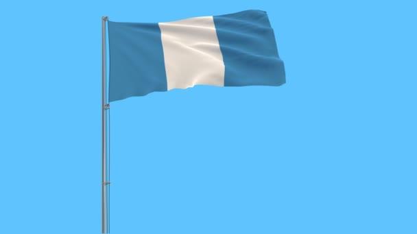 Elkülöníteni a zászlórúd, csapkodott a szélben a kék háttér, 3d rendering Guatemala polgári zászló