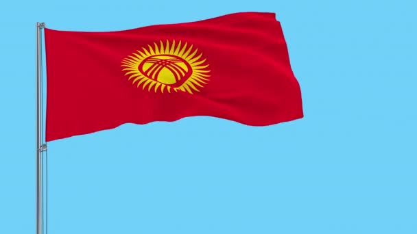 Large cloth Isolate flag of Kyrgyzstan on a flagpole fluttering in the wind on a transparent background, 3d rendering, 4k prores footage, alpha transparency