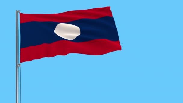 Isolierte Flagge von Laos an einem Fahnenmast, der im Wind auf transparentem Hintergrund flattert, 3D-Rendering, 4k Prores Footage, Alpha-Transparenz