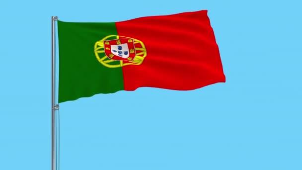 Nagy ruhával elkülönítése Portugália zászlaja a zászlórúd, csapkodott a szélben, átlátszó háttér, 3d-leképezést, 4 k prores felvételeket, alfa átlátszóságát a