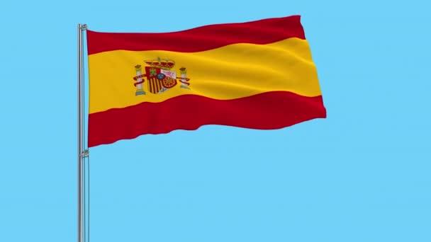 Nagy ruhával elkülönítése Spanyolország zászlaja a zászlórúd, csapkodott a szélben, átlátszó háttér, 3d-leképezést, 4 k prores felvételeket, alfa átlátszóságát a