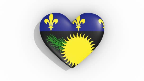 Heart in colors flag of Guadeloupe pulses, loop