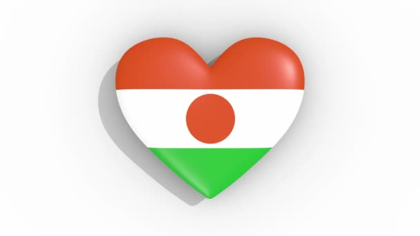 Heart in colors flag of Niger pulses, loop