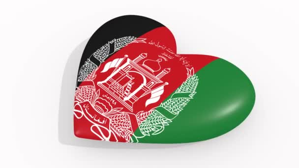 Heart in colors and symbols of Afghanistan on white background, loop