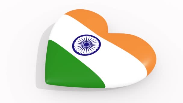 Heart in colors and symbols of India on white background