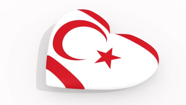Heart in colors and symbols of Turkish Republic of Northern Cyprus on white background, loop