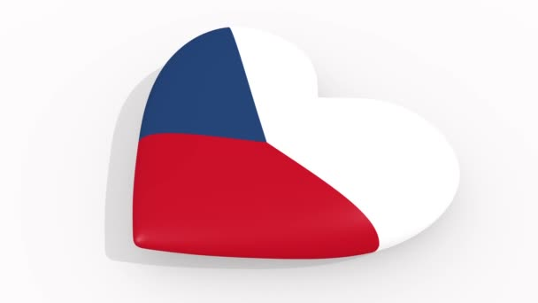 Heart in colors and symbols of Czech Republic on white background, loop