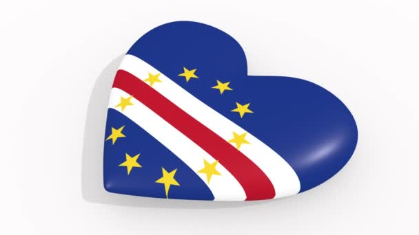 Heart in colors and symbols of Cape Verde on white background, loop