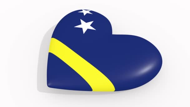Heart in colors and symbols of Curacao on white background, loop
