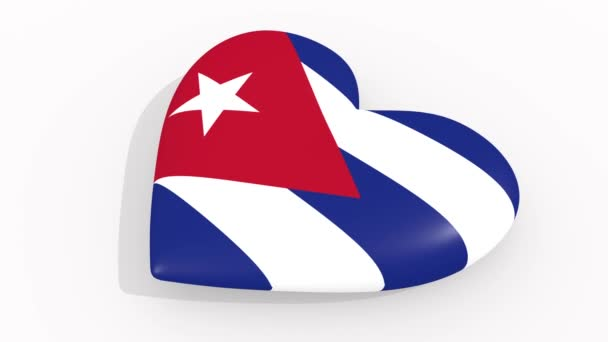 Heart in colors and symbols of Cuba on white background, loop
