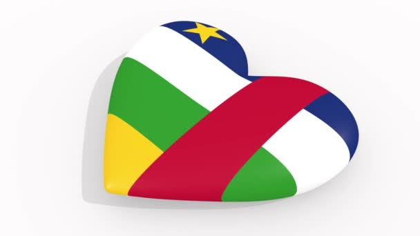 Heart in colors and symbols of Central African Republic on white background, loop