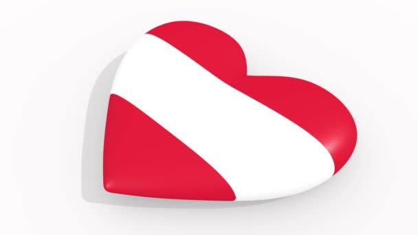 Heart in colors and symbols of Austria on white background, loop