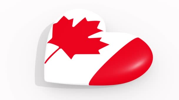 Heart in colors and symbols of Canada on white background, loop