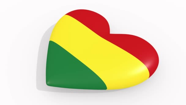 Heart in colors and symbols of Bolivia on white background, loop