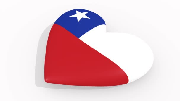Heart in colors and symbols of Chile on white background, loop