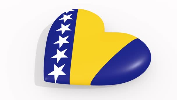 Heart in colors and symbols of Bosnia and Herzegovina on white background, loop