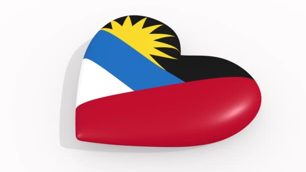 Heart in colors and symbols of Antigua and Barbuda on white background, loop