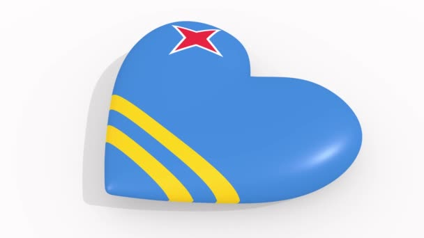 Heart in colors and symbols of Aruba on white background, loop