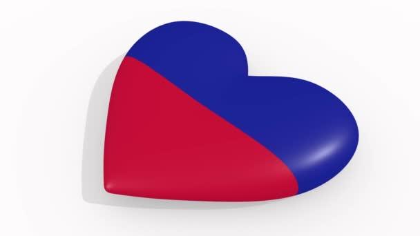 Heart in colors and symbols of Haiti, loop
