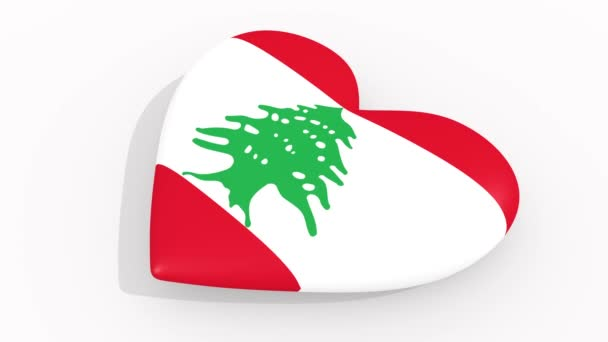 Heart in colors and symbols of Lebanon, loop