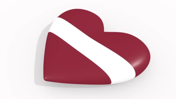 Heart in colors and symbols of Latvia, loop