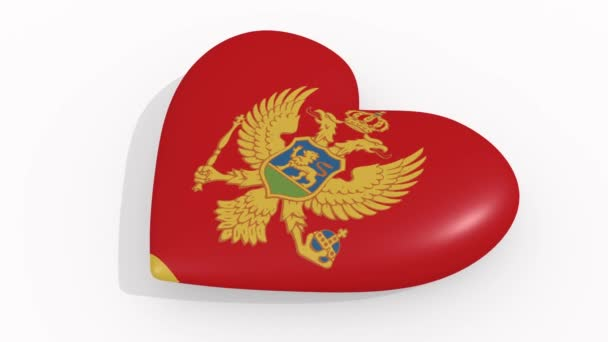 Heart in colors and symbols of Montenegro, loop