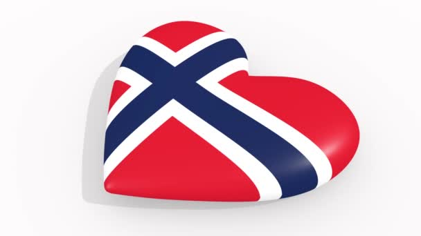 Heart in colors and symbols of Norway, loop