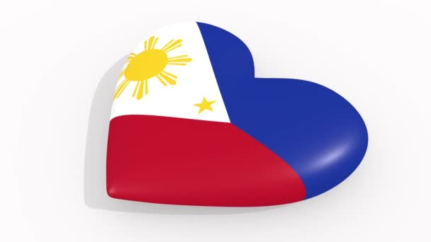 Heart in colors and symbols of Philippines, loop