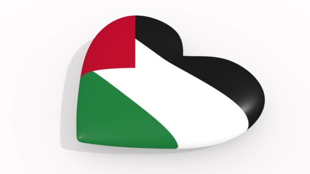Heart in colors and symbols of Palestine, loop