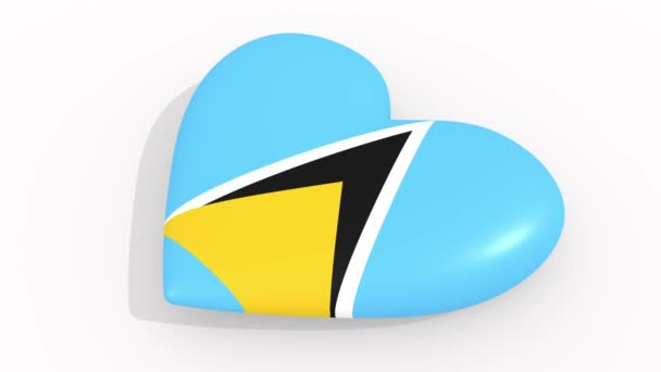Heart in colors and symbols of Saint Lucia, loop