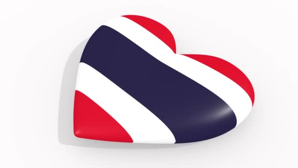 Heart in colors and symbols of Thailand on white background, loop