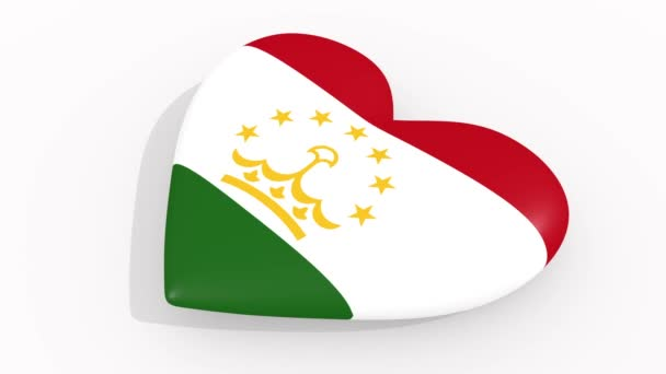 Heart in colors and symbols of Tajikistan on white background, loop