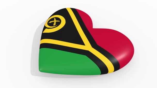 Heart in colors and symbols of Vanuatu on white background, loop
