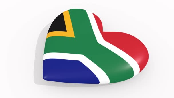 Heart in colors and symbols of South Africa on white background, loop