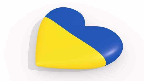 Heart in colors and symbols of Ukraine on white background, loop