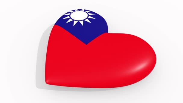 Heart in colors and symbols of Taiwan on white background, loop