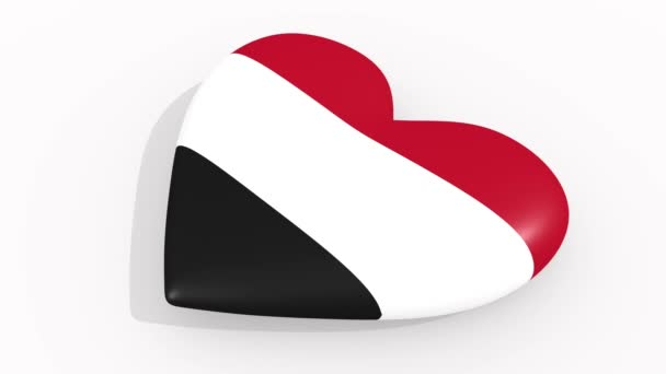 Heart in colors and symbols of Yemen on white background, loop