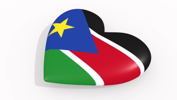 Heart in colors and symbols of South Sudan on white background, loop