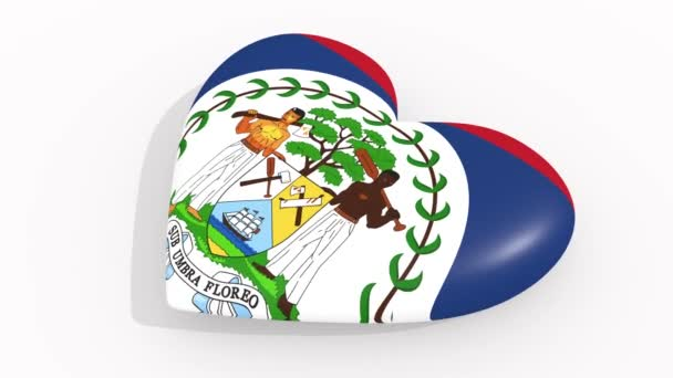 Heart in colors and symbols of Belize on white background, loop