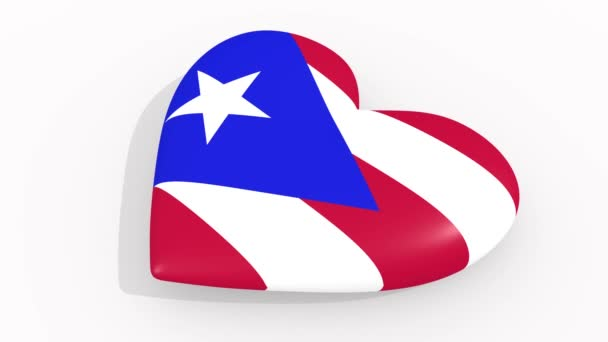 Heart in colors and symbols of Puerto Rico on white background, loop