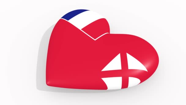 Heart in colors and symbols of Wallis and Futuna on white background, loop
