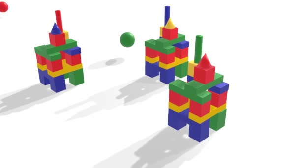 Wooden painted childrens cubes scattering from hitting balls