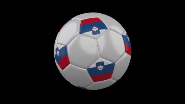 Soccer ball with flag Slovenia, loop alpha
