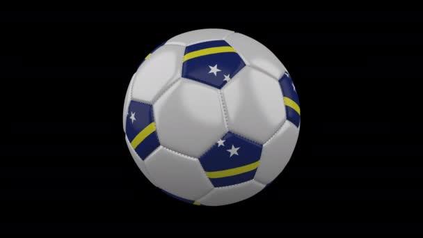 Soccer ball with flag Curacao, 4k with alpha, loop