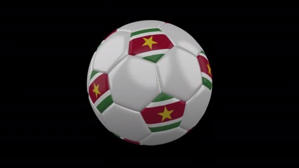 Soccer ball with flag Suriname, 4k with alpha, loop