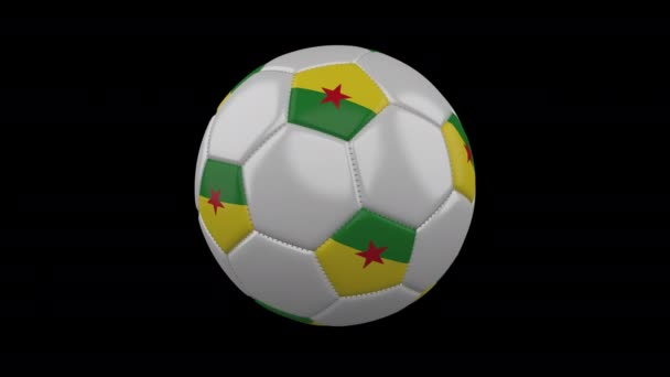 Soccer ball with flag French Guiana, 4k with alpha, loop