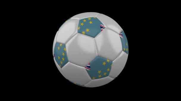 Soccer ball with flag Tuvalu, 4k with alpha, loop