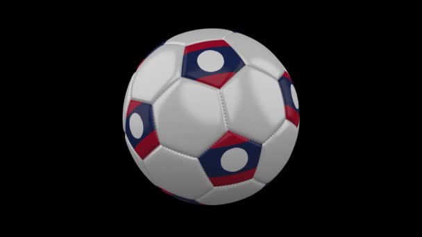 Soccer ball with flag Laos, loop, 4k with alpha