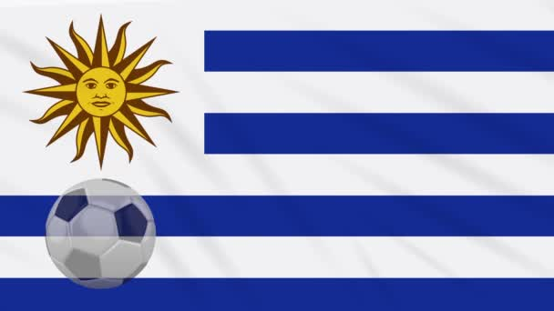 Flag of Uruguay and soccer ball rotates against backdrop of waving cloth