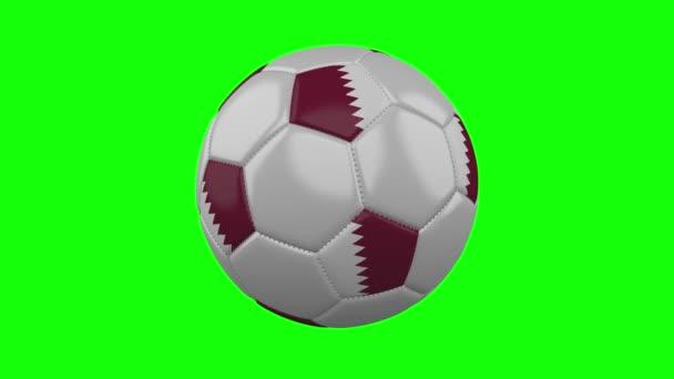 Futball labda Katar zászló zöld chroma kulcs háttér, loop